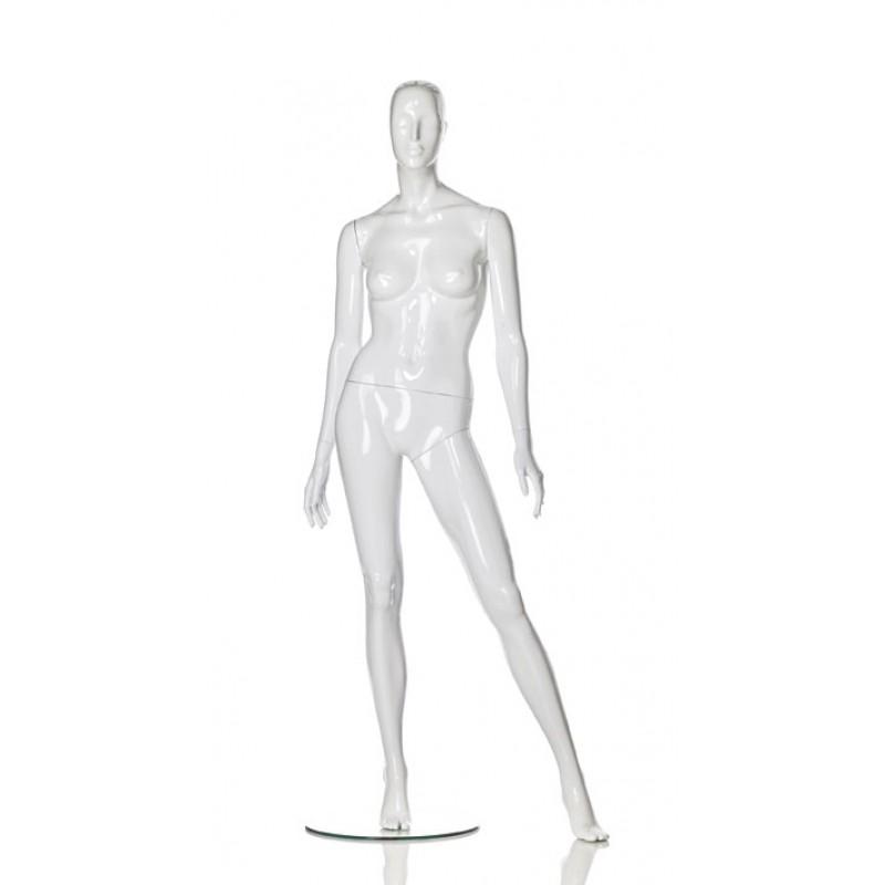 Hochglanz Weiß Damenfigur Lin – ausgestelltes Bein – Hindsgaul
