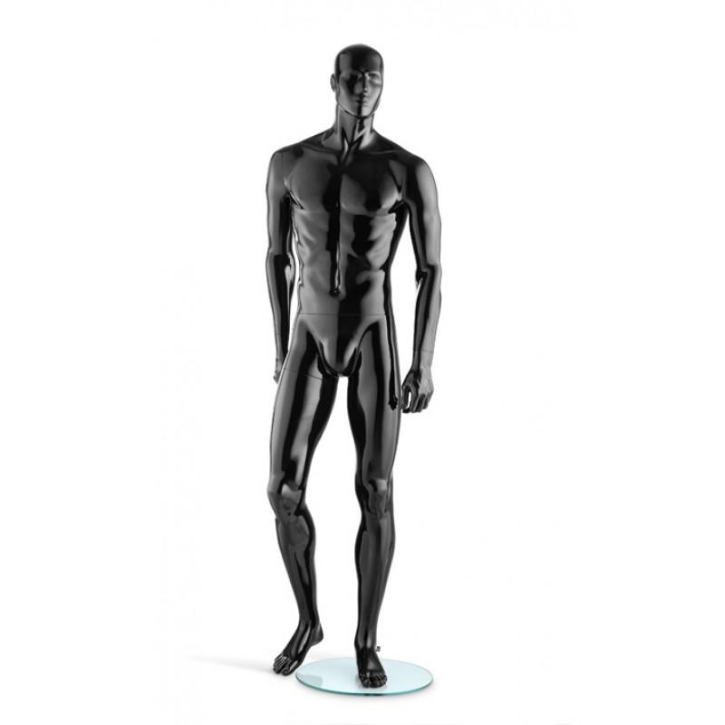 HIGH GLOSS BLACK MALE MANNEQUIN – LEG BENT – HINDSGAUL