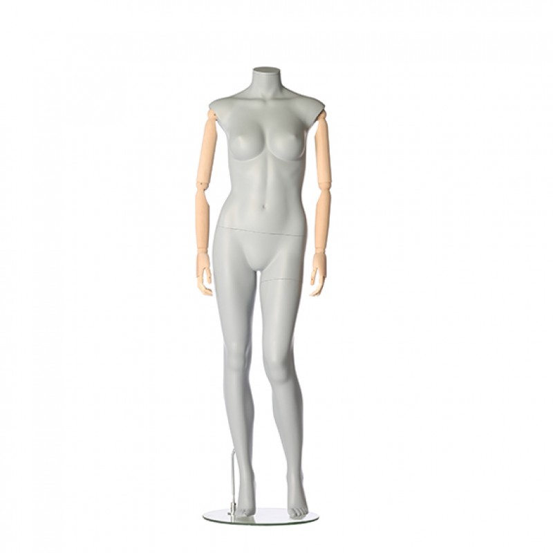 FEMALE MANNEQUIN – FLEXIBLE WOODEN ARMS – LEFT LEG BENT – DARROL 700 SERIES - NECK-LOCK SYSTEM