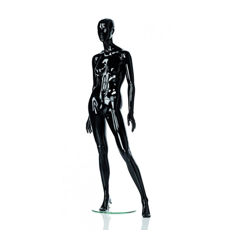 HIGH GLOSS BLACK FEMALE MANNEQUIN - LEFT LEG SIDEWAYS – HINDSGAUL