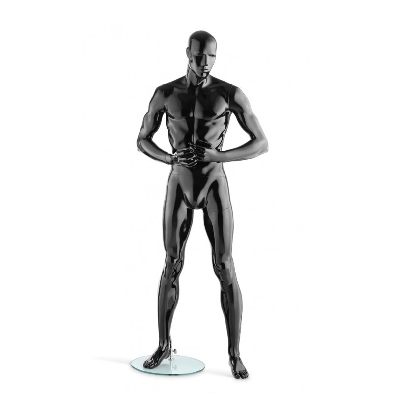 HIGH GLOSS BLACK MALE MANNEQUIN - HANDS IN FRONT – HINDSGAUL