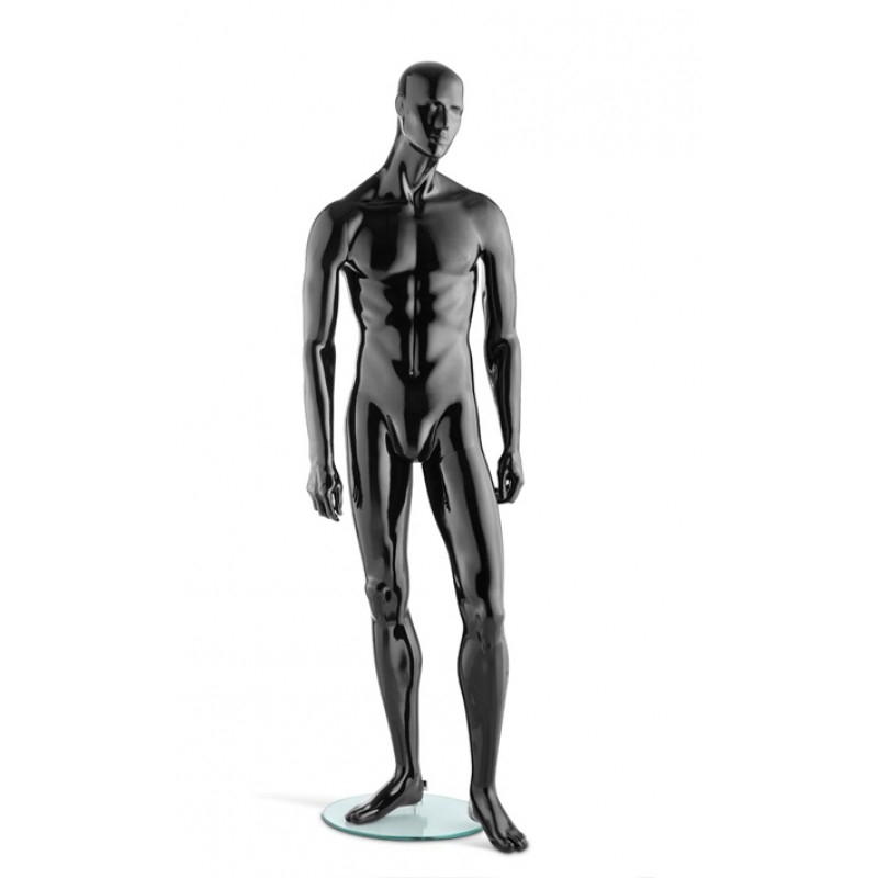 HIGH GLOSS BLACK MALE MANNEQUIN – RELAXED POSE – HINDSGAUL