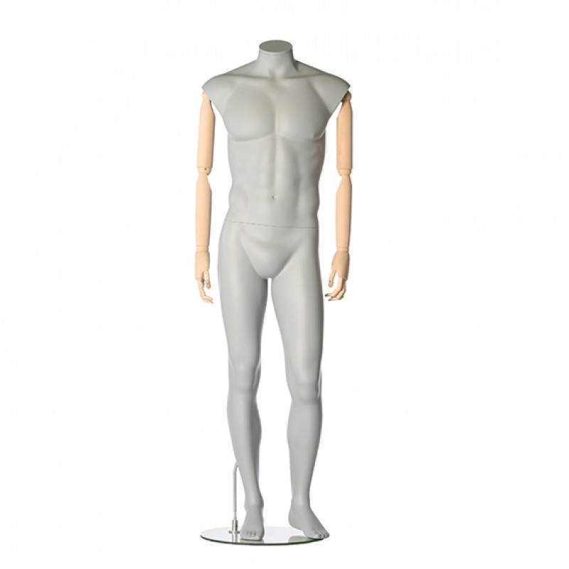 MALE MANNEQUIN – FLEXIBLE WOODEN ARMS – RELAXED POSE – DARROL 700 SERIES - NECK-LOCK SYSTEM